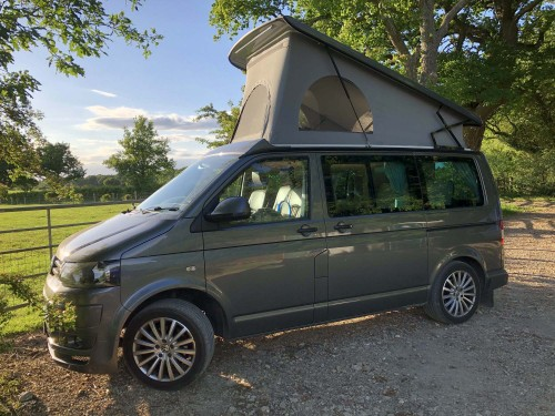 A VW T5 Campervan called Bubba and Bubba on the outside for hire in godalming, Surrey