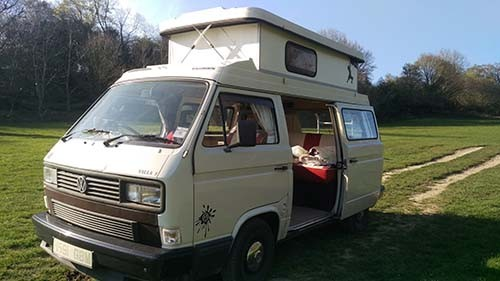 A VW T3 Campervan called Holly and Holly for hire in brighton, East Sussex
