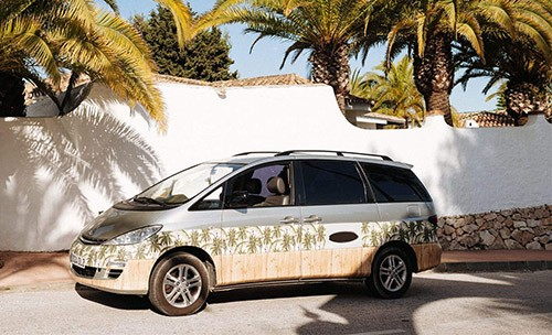 A NON VW Conversion Campervan called Hawaii and Hawaii on the road for hire in lisbon, Portugal