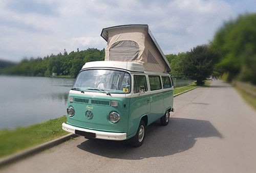 A VW T2 Classic Campervan called Isabella and Hamish with Hat for hire in westbury, Wiltshire