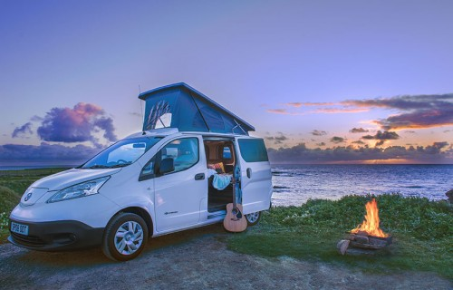 A Nissan Campervan called Spoot and Go wild camping in Scotland! for hire in birsay, orkney, Orkney Islands