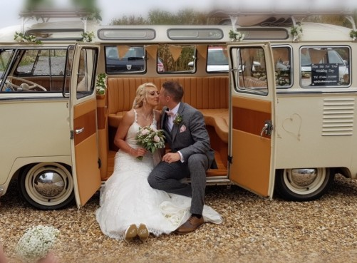A VW T1 Splitscreen Campervan called Carmen and Dream wedding camper for hire in westbury, Wiltshire