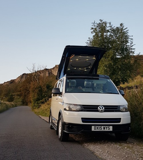 A VW T5 Campervan called Bowie and Pretty the camper for hire in morton, Derbyshire