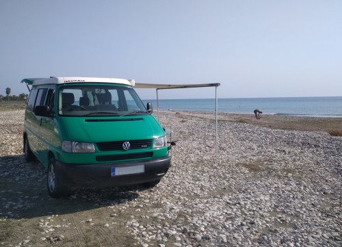 A VW T4 Campervan called Saloniki and Saloniki - pop-up roof, awning, 4 b for hire in larnaka, Cyprus