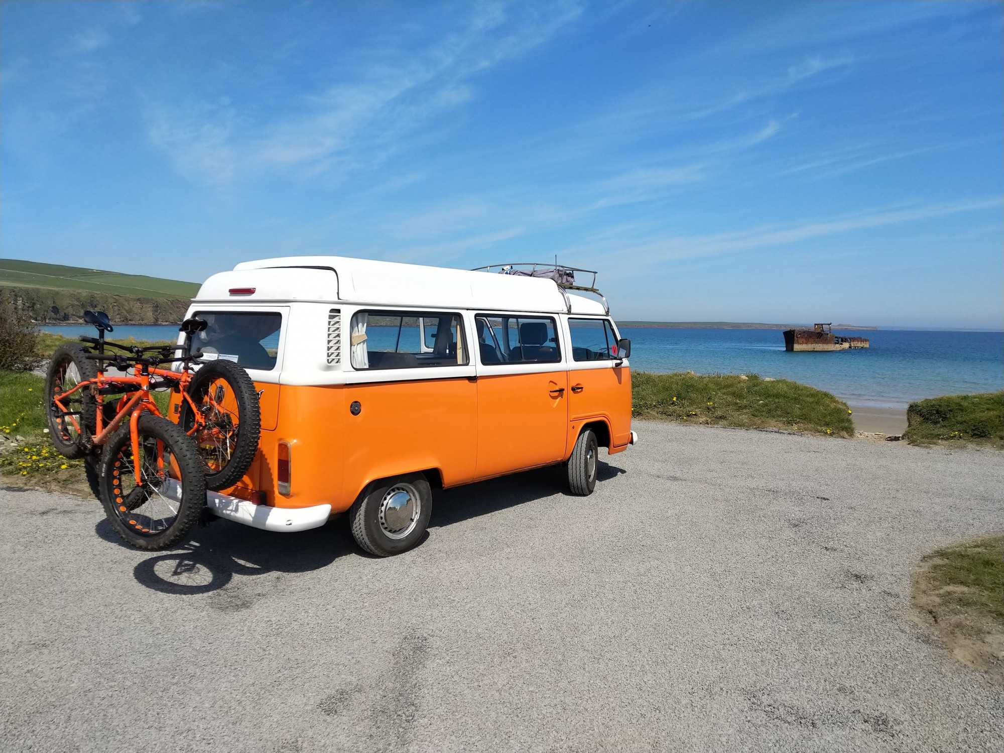 A VW T2 Classic Campervan called Thunder-betty and Van with Fat bikes. for hire in orkney, Orkney Islands