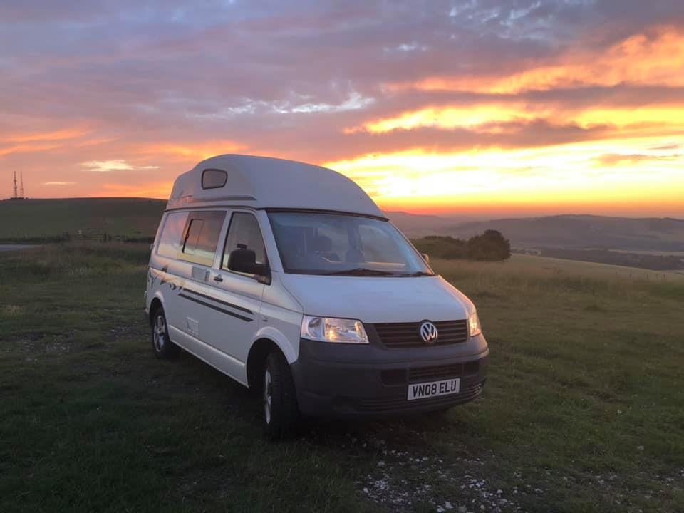 A VW T4 Campervan called Edna and View of the Van for hire in newhaven, East Sussex