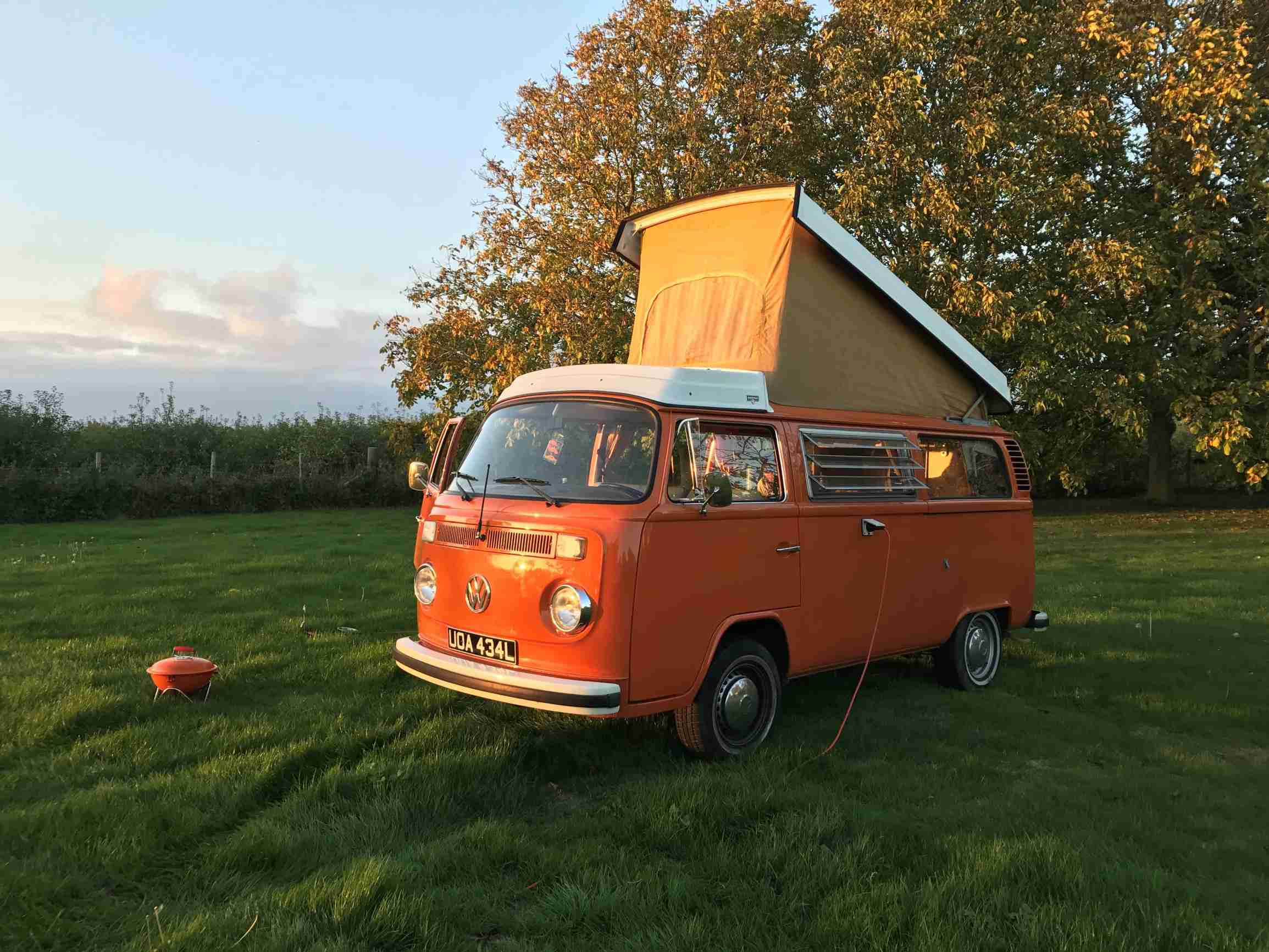 A VW T2 Classic Campervan called Heinz and We've fitted a new roof canvas since this photo - it has side windows too for hire in london, London