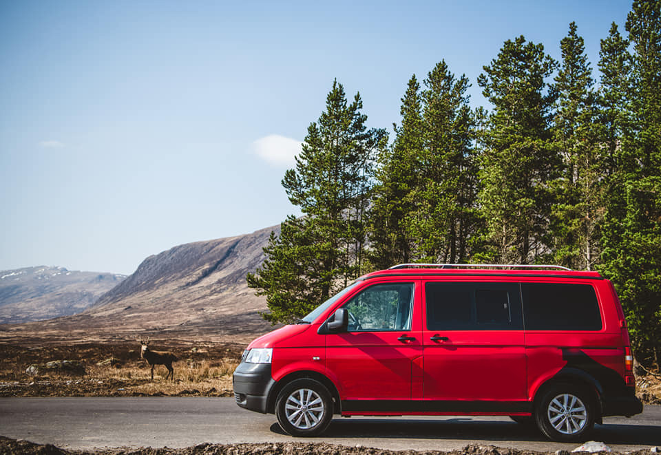 A VW T5 Campervan called Reid and for hire in fort william, Scotland
