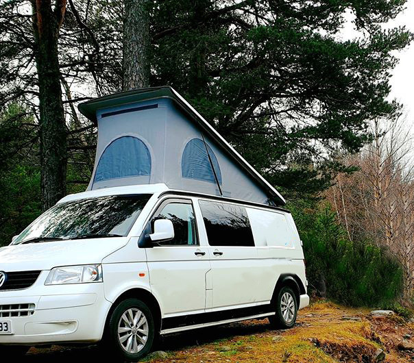 A VW T5 Campervan called Hope and for hire in fort william, Scotland