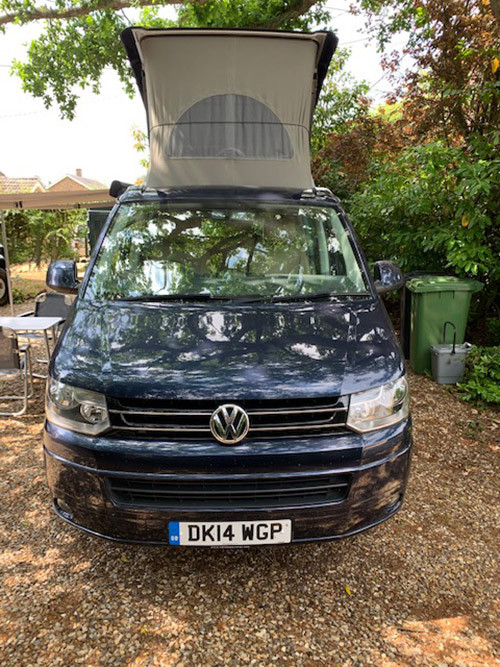 A VW T5 California Campervan called bluey and for hire in Dersingham , Norfolk