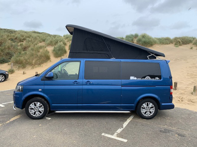 A VW T5 Campervan called BluT5 and for hire in Sittingbourn, Kent
