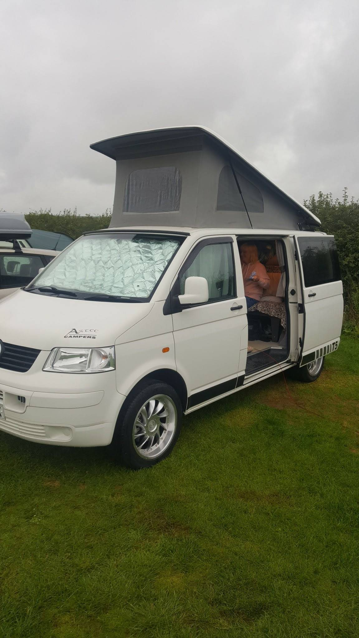 A VW T5 Campervan called Snowy and for hire