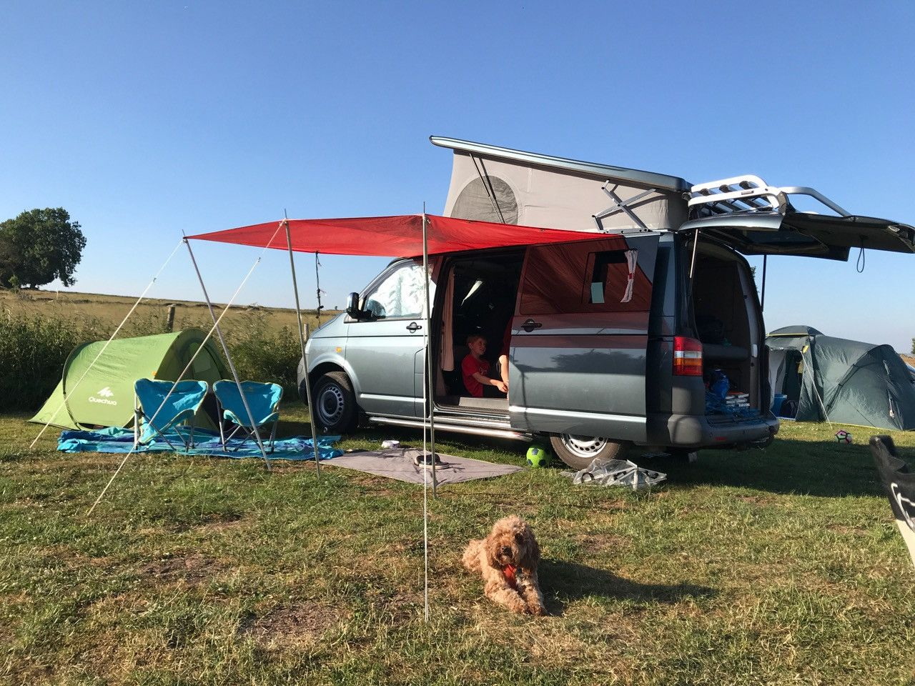 A VW T5 Campervan called Flo and Flo with the red sail - great for short breaks for hire in alfreton, Derbyshire