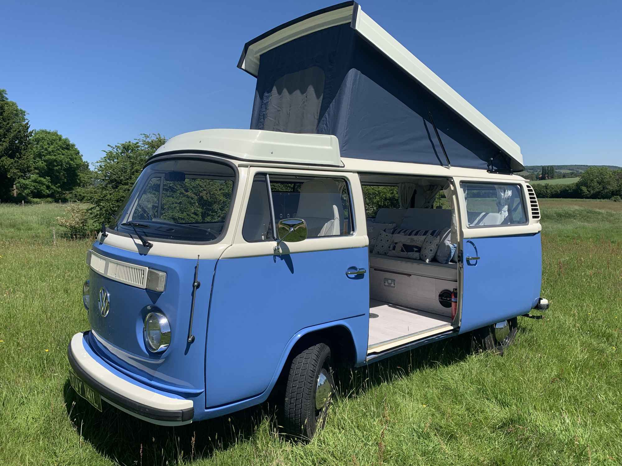 A VW T2 Classic Campervan called Tilly-the-camper and for hire