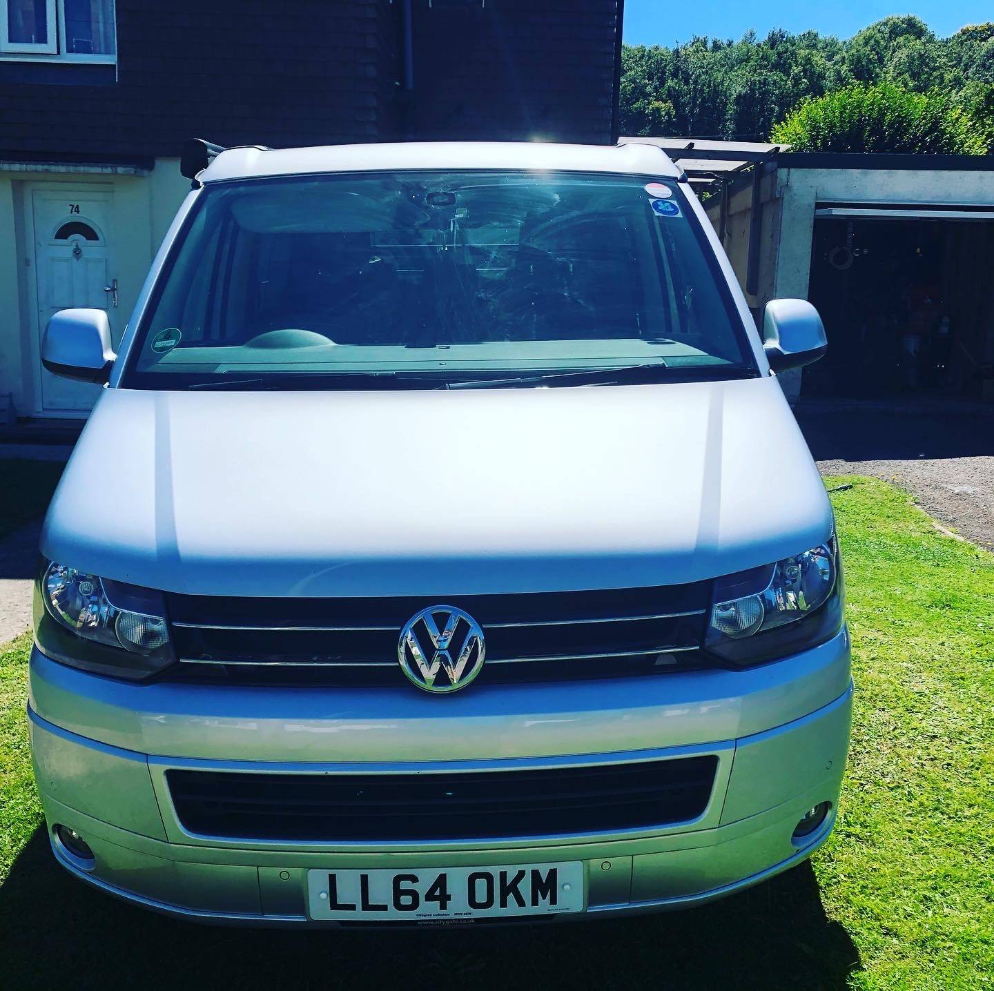 A VW T5 California Campervan called April-Eleanor and for hire in warminster, Wiltshire