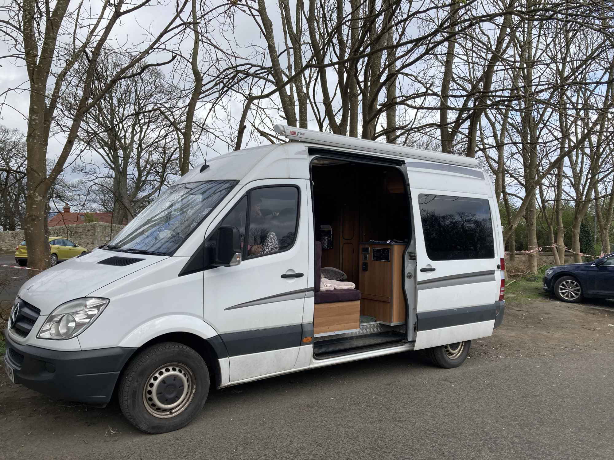 A Mercedes Sprinter Campervan called Katie-Camper and for hire