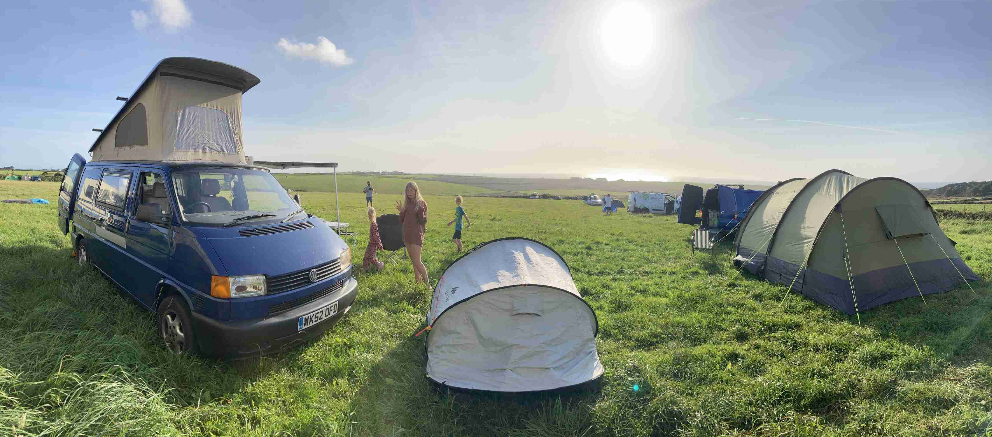 A VW T4 Campervan called BigBlue and Sunny Sennen for hire in Teignmouth, Devon