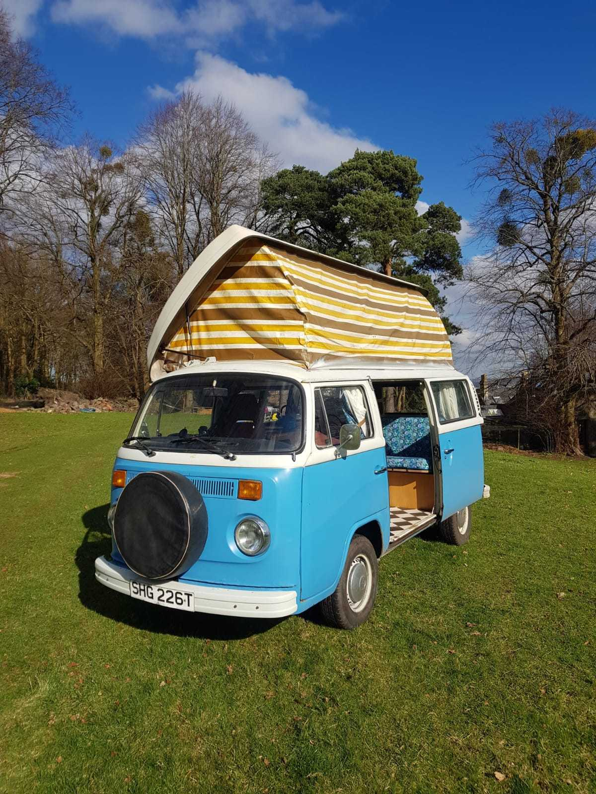 A VW T2 Classic Campervan called Sandy and Sandy in the sunshine for hire in Bristol, Somerset